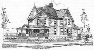 """Lessie's House"", contained within the book: Houses and Cottages, Book 10, by D.S. Hopkins of Grand Rapids, MI, 1896."