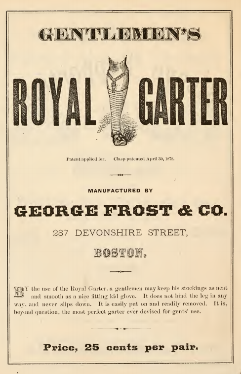 Kristin Holt   How Did Victorian Stockings Stay Up? Gentlemen's Royal Garter stocking supporter, advertised in the September 1878 Catalogue of Novelties and Specialties in Women's and Children's Underwear.