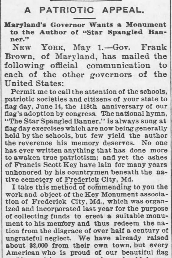 Patriotic Appeal. Francis Scott Key. Part 1. Garnet Journal of Garnett, Kansas on May 3, 1895