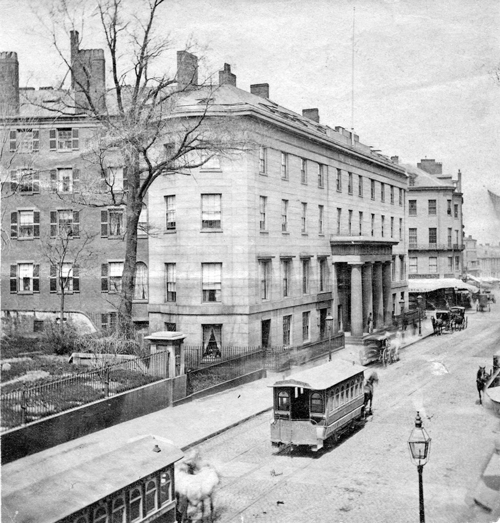 Tremont House at Tremont and Beacon Streets c 1860 to 1890. Courtesy of the Bostonian Society