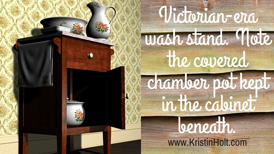 Victorian-era wash stand. Note the covered chamber pot kept in the cabinet beneath.