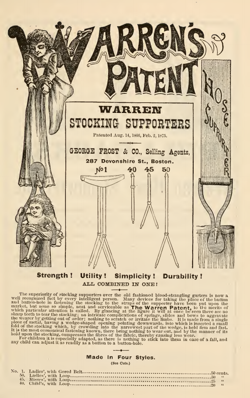 Kristin Holt | How Did Victorian Stockings Stay Up? Warren's Patent Stocking Supporters advertised in the 1878 September Catalogue of Novelties and Specialties in Women's and Children's Underwear.