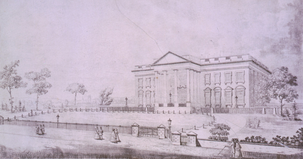 Etching of the White House, Dec 8, 1833. Image: Library of Congress via McClatchy DC