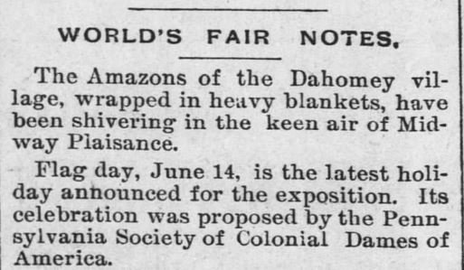 World's Fair Notes, published in The Leavenworth Times of Leavenworth, Kansas, on May 28, 1893. The World's Fair was hosted in Chicago, Illinois in 1893.
