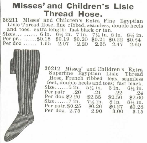 Kristin Holt | How Did Victorian Stockings Stay Up? Misses' and Children's Lisle Thread Hose stockings for sale in 1895 Montgomery, Ward & Co. Spring and Summer Catalogue.