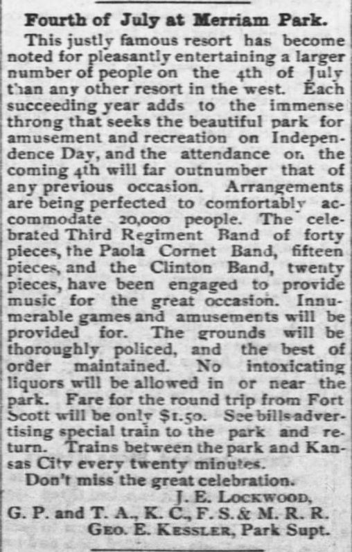 4th of July at Merriam Park. Fort Sccott Daily Monitor of Fort Scott, Kansas, of 23 Jun 1889.