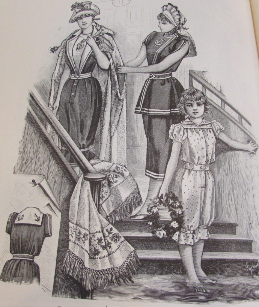 Bathing Costumes. 1892. Bath cloak. Harper's Bazaar 1867-1898 p. 244
