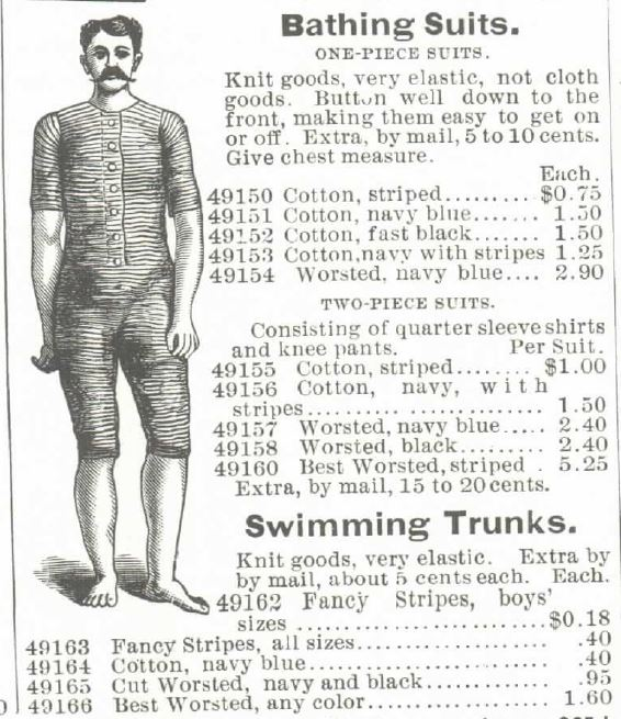 Bathing Suits offered in the Montgomery Ward & Co. 1895 Spring and Summer Catalog.