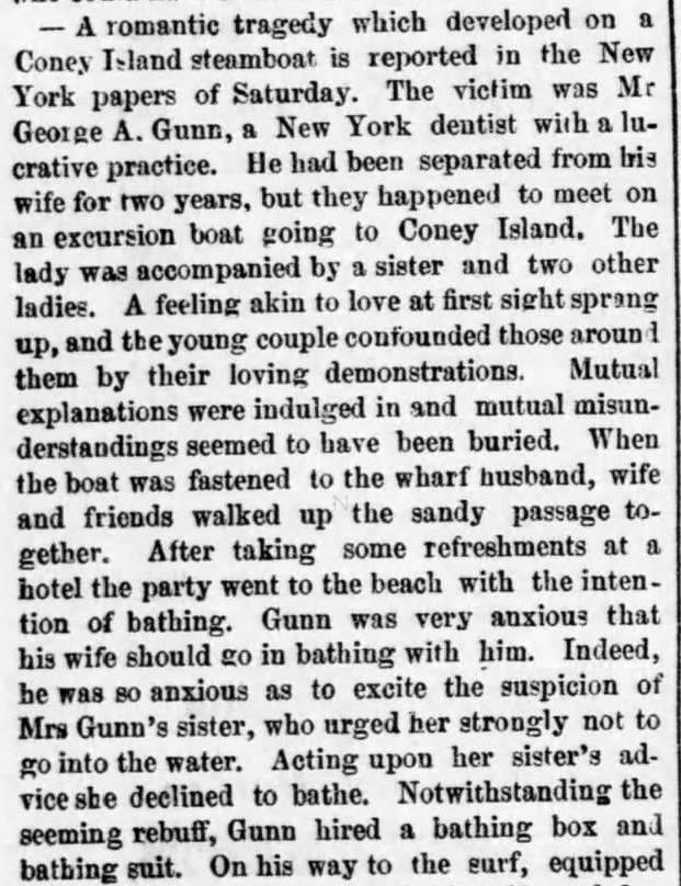 Kristin Holt | Victorians at the Seashore. Part 1: Bathinig Tragedy reported in Boston Post on July 12, 1875.