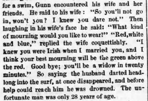 Kristin Holt | Victorians at the Seashore. Part 2: Bathinig Tragedy reported in Boston Post on July 12, 1875.