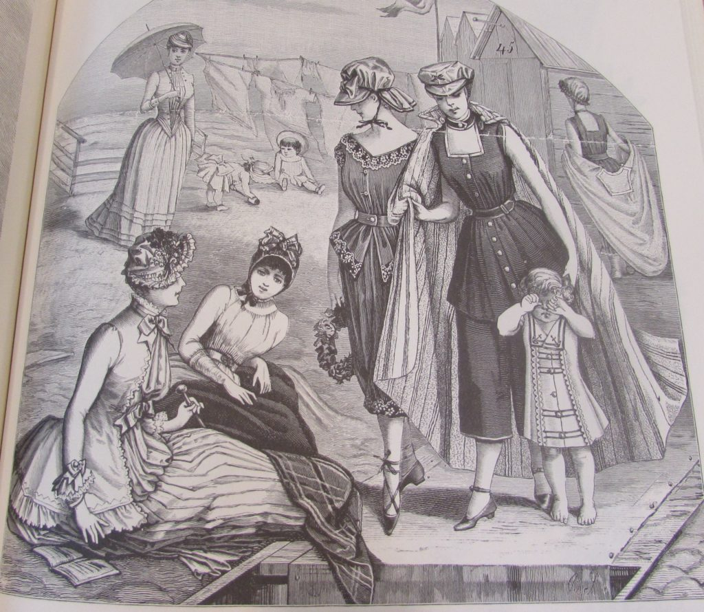 Beach and Bathing Dresses. 1885. Harper's Bazaar 1867-1898 p. 179