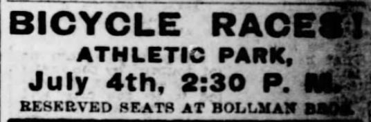 Kristin Holt | Victorian America Celebrates Indpendence Day. Bicycle Racers on July 4th. St. Louis Post-Dispatch of St. Louis, Missouri, On July 2, 1899.