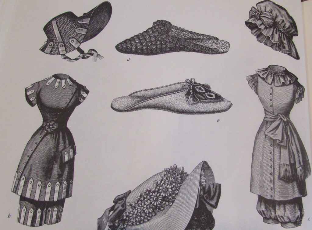 Kristin Holt | 19th Century Bathing Costumes from Harper's Bazaar. Bonnet, slippers, hats, as part of bathing costumes. 1881. Harper's Bazaar 1867-1898 p. 126.