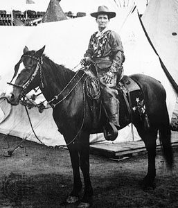 Calamity Jane on horseback