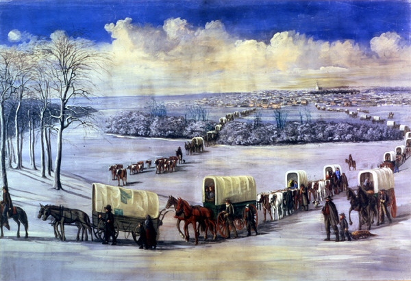 """Crossing the Mississippi on the Ice"" by C.C.A. Christensen -- Brigham Young University Museum of Art. [Image: Public Domain, courtesy of Wikipedia]"