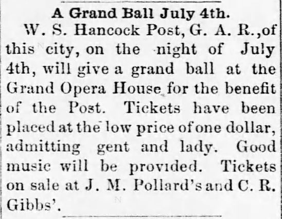 Grand Ball. Mexico Weekly Ledger of Mexico, Missour, on June 20, 1889,