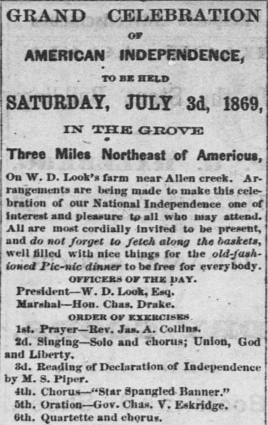 Grand Celebration. Part 1. The Emporia Weekly News of Emporia Kansas on June 25, 1869.