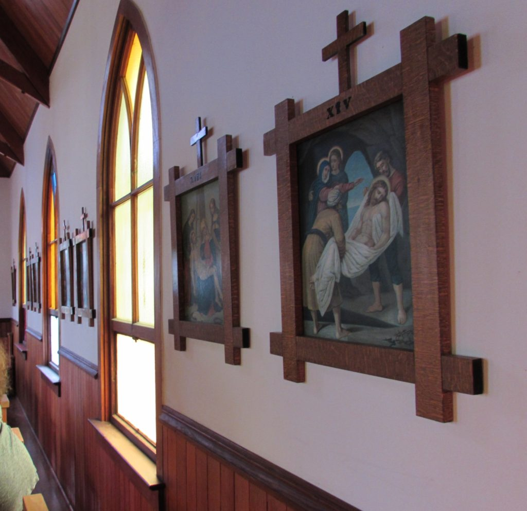 Interior wall of Silver City's historic Catholic Church: Our Lady of Tears