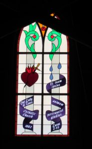 Stained glass window, reproduction and hisorically accurate, within Our Lady of Tears, Silver City, Idaho