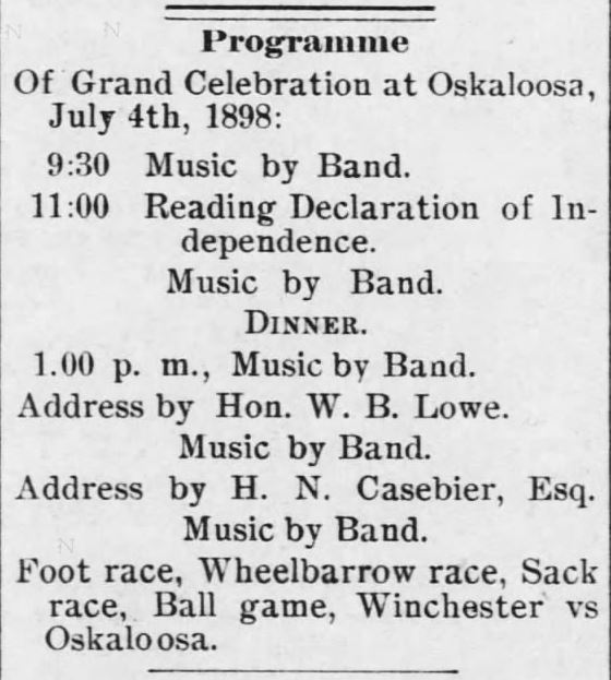 The Oskaloosa Independent of Oskaloosa, Kansas, on 24 June, 24, 1898.