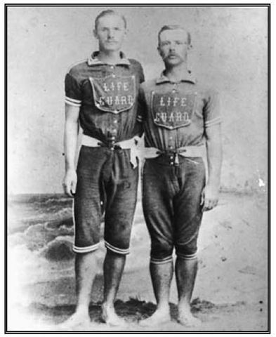 Kristin Holt | Victorians at the Seashore. Vintage photograph of two Lifeguards, in short-sleeved, knee-length bathing suits, at Atlantic City, New Jersey. Image from Pinterest.