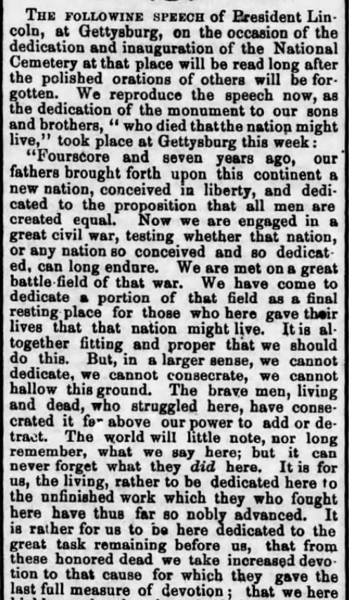 Lincoln's dedication of Gettysburg. Part 1. Monument up 1869. Harrisburg Telegraph of Harrisburg, Pennsylvania on July 3, 1869