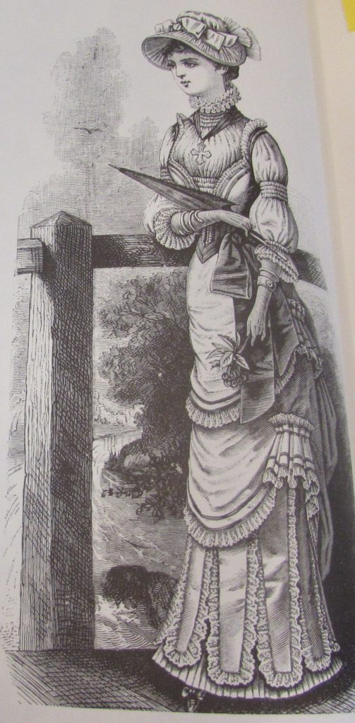 Kristin Holt | Pencil Skirts, Victorian Style. Medicis Suit with hooded cape and Polonaise round skirt, from 1881. Page 124 of Harper's Bazaar, 1867-1898.
