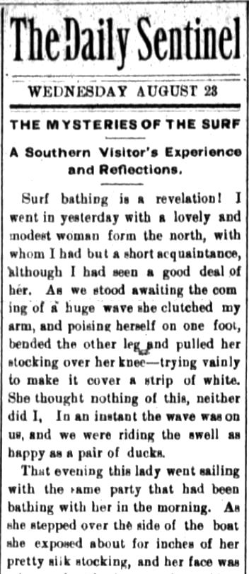 Kristin Holt | Victorians at the Seashore. Part 1: Mysteries of the surf, published in The Fort Wayne Sentinel (The Daily Sentinel). Fort Wayne, Indiana, on August 23, 1882.