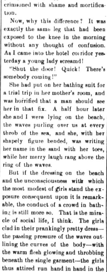 Kristin Holt | Victorians at the Seashore. Part 2: Mysteries of the surf, published in The Fort Wayne Sentinel (The Daily Sentinel). Fort Wayne, Indiana, on August 23, 1882.