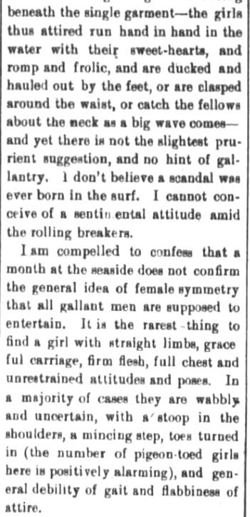 Kristin Holt | Victorians at the Seashore. Part 3: Mysteries of the surf, published in The Fort Wayne Sentinel (The Daily Sentinel). Fort Wayne, Indiana, on August 23, 1882.