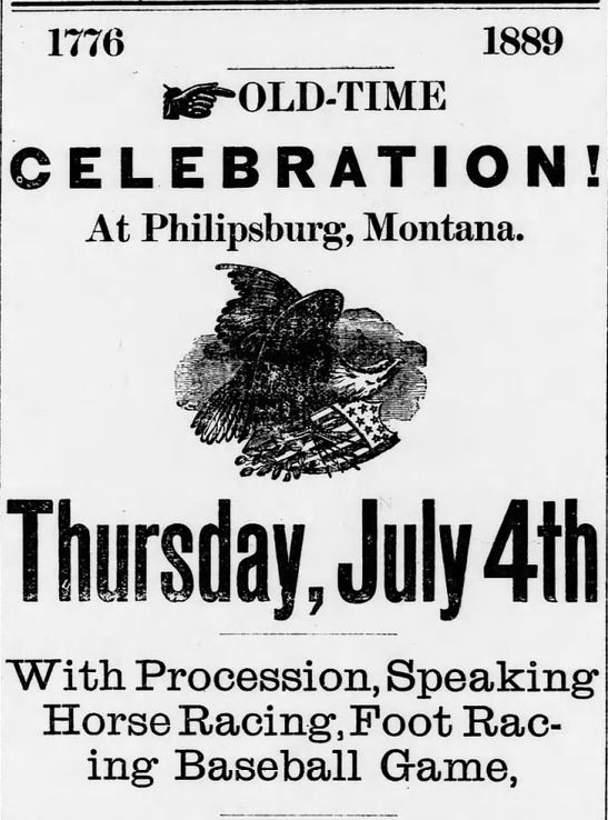 Old-Time Celebration. Part 1. The Philipsburg Mail of Philipsburg Montana on June 13, 1889.