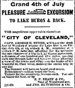 Pleasure excursion. Detroit Free Press of Detroit, Michigan, on July 2, 1862.