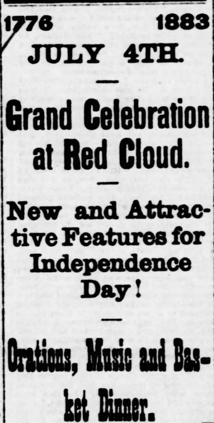 Red Cloud Grand Celebration. Part 1. The Red Cloud Chief of Red Cloud, Nebraska, on Jun 1, 1883.