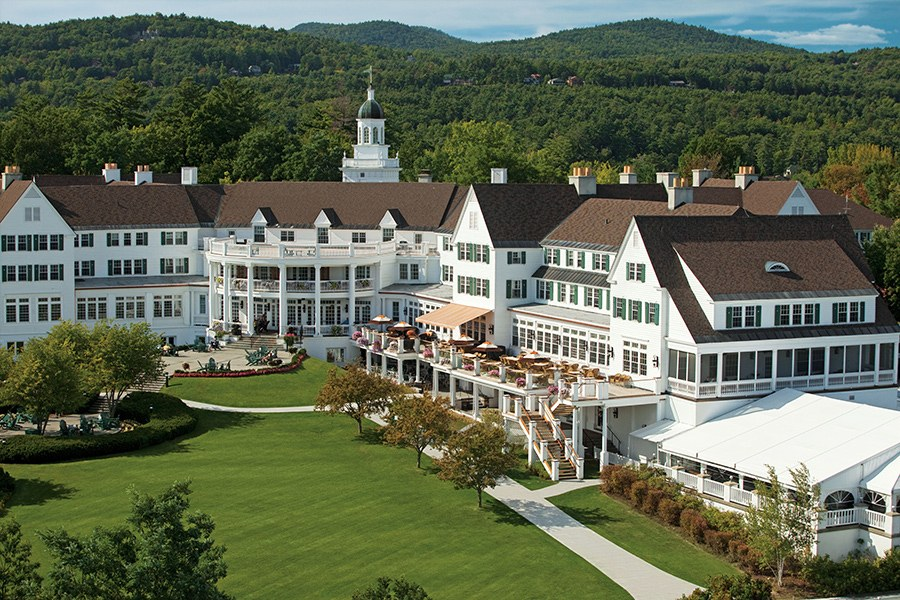 The Sagamore, along the shores of Lake George, in New York. Image, courtesy of Ocean Properties, Ltd., via Architectural Digest.