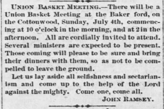 Union Basket Meeting. The Empoira Weekly News of Emporia Kansas on June 25, 1869.
