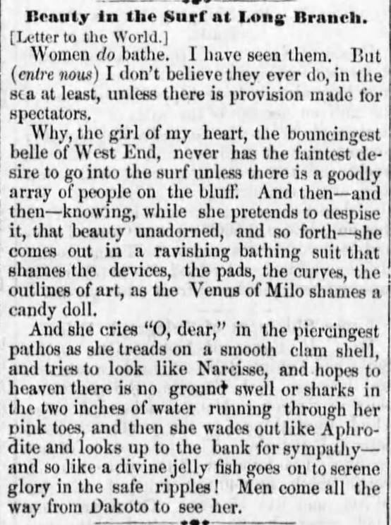 Kristin Holt | Victorians at the Seashore: Beauty in the Surt at Long Branch. Published in Reading Times of Reading, Pennsylvania on June 29, 1876.