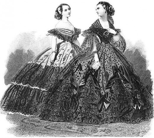 1860 Victorian Costume with hoop skirts