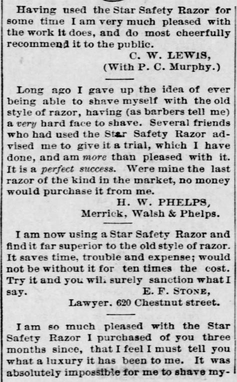 A.J. Jordan. Testimonials, Part 2, for Star Safety Razor in the St. Louis Post-Dispatch of St. Louis, MIssouri, on September 11, 1886
