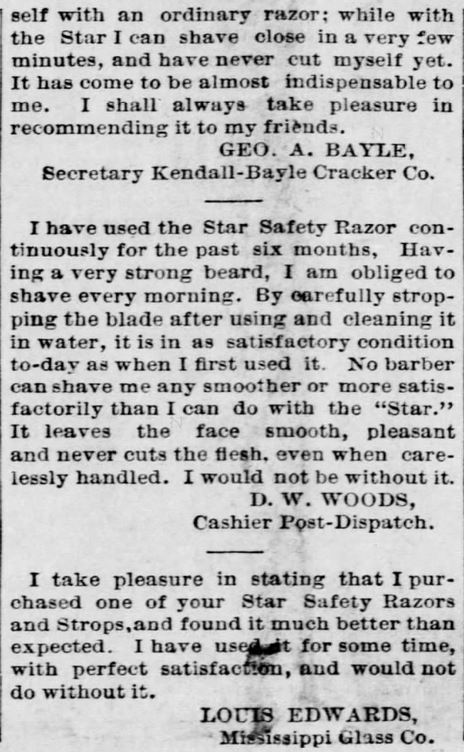 A.J. Jordan. Testimonials, Part 3, for Star Safety Razor in the St. Louis Post-Dispatch of St. Louis, MIssouri, on September 11, 1886