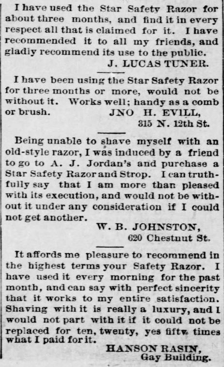 A.J. Jordan. Testimonials, Part 4, for Star Safety Razor in the St. Louis Post-Dispatch of St. Louis, MIssouri, on September 11, 1886