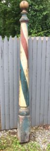 Antique 19th Century barber pole, currently for sale on eBay.