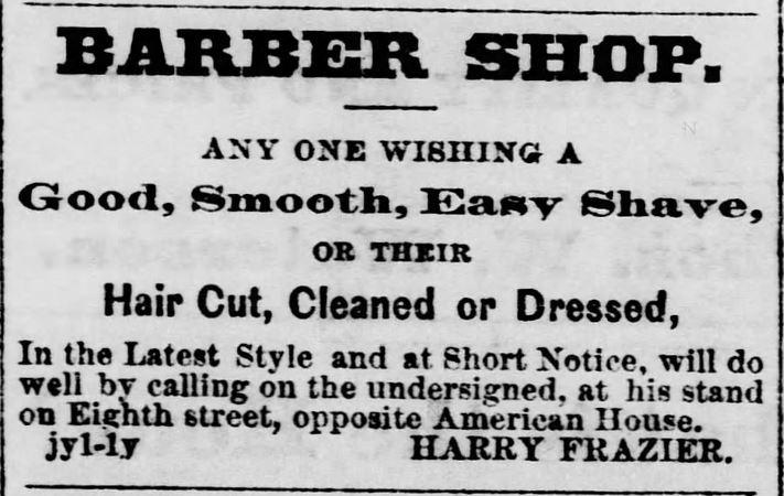 Barber Shop ad. Marysville Locomotive of Marysville, Kansas on January 7, 1871