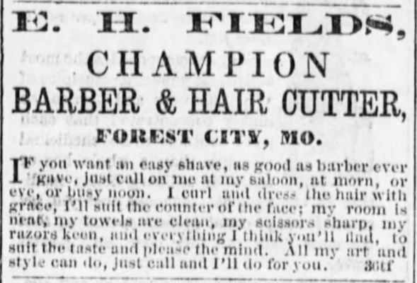 Barber and Hair Cutter. Razors keen. The Holt County Sentinel of Oregon, Missouri on August 4, 1871