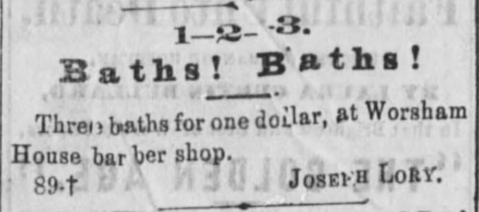 Baths and barber shop. Public Ledger of Memphis, Tennessee on June 24, 1873