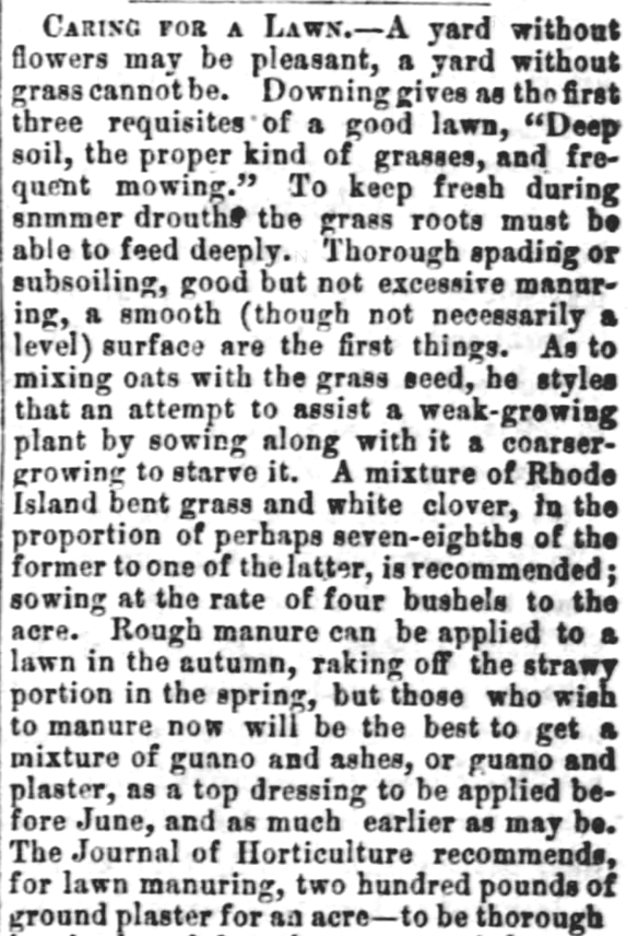 Caring for a Lawn. Part 1. White Cloud Kansas Chief of White Cloud Kansas on May 27, 1869