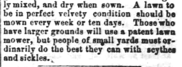 Caring for a Lawn. Part 2. White Cloud Kansas Chief of White Cloud Kansas on May 27, 1869