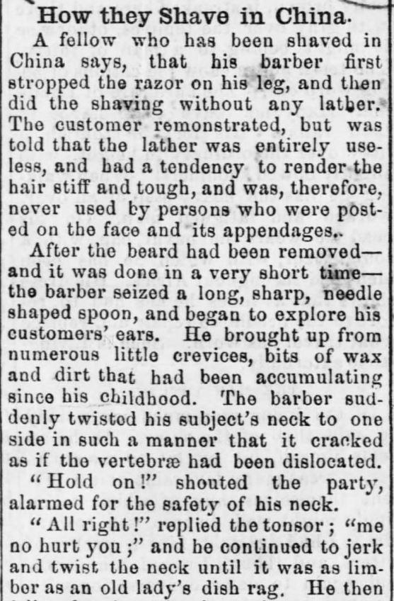 Chinese shave. Part 1. Osage County Chronicle of Burlingame, Kansas on September 6, 1872