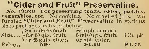 Cider and Fruit Preservaline. Sears 1898