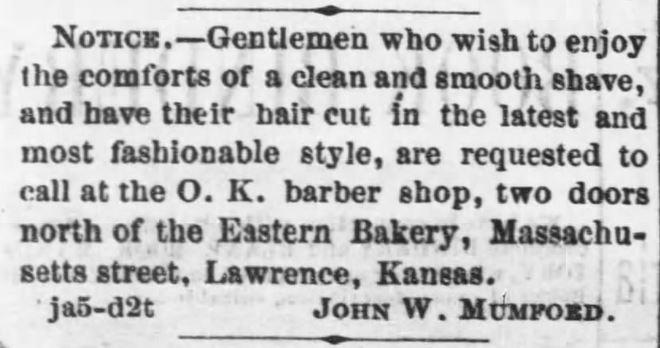 Close Shave. OK Barber Shop. The Daily Kansas Tribune of Lawrence, Kansas on January 5, 1870