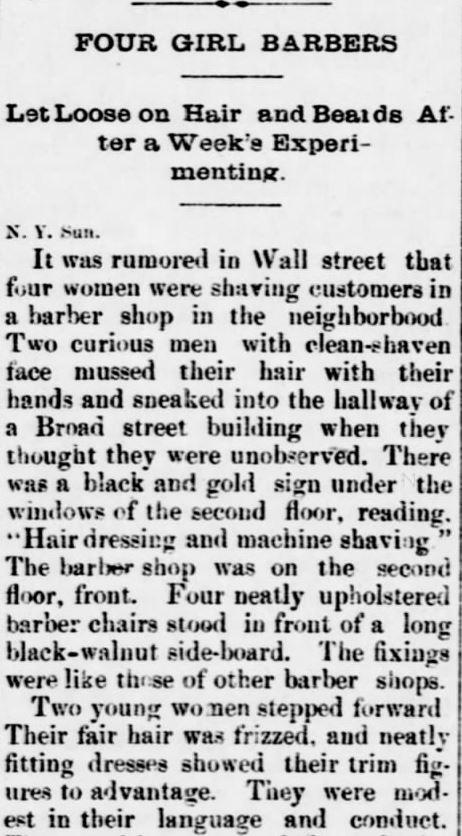 Four Girl Barbers. Part 1. The Sedalia Weekly Bazoo of Sedalia, Missouri, on October 23, 1883